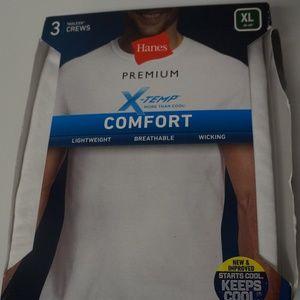 Hanes Premium X-Temp Mens XL T-Shirts 3 Pk White
